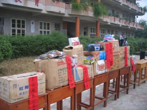 Relief in the form of teaching supplies and sports equipment for students at the Longzhu Elementary School, cash, goods, and building materials was given to forty four families